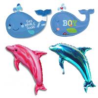 孩派 Anagram气球 动物 海豚 蓝鲸鲨鱼 海底世界 铝箔气球1个