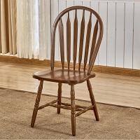 餐椅 美式乡村实木餐椅温莎椅实木椅子靠背椅子现代家用红橡木剑背椅
