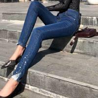 春夏镶钻蕾丝牛仔裤韩版小脚裤显瘦带钻钉珠长裤弹力女裤