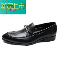 新品上市欧美套脚鞋男士英伦休闲皮鞋一脚蹬懒人男鞋真皮尖头潮鞋子