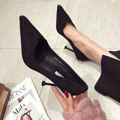 网红高跟鞋女士春季2019新款韩版百搭细跟超浅口尖头欧美10cm单鞋