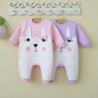 婴儿连体衣春秋冬保暖女宝宝冬装哈衣新生儿衣服0-6-12个月3