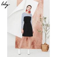 【不打烊价:239.7元】 Lily春新款女装条纹拼接连衣裙系腰带纽扣连衣裙118120C7662