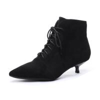 尖头短靴女高跟鞋女细跟绒面裸靴2019秋冬季新款韩版及踝靴