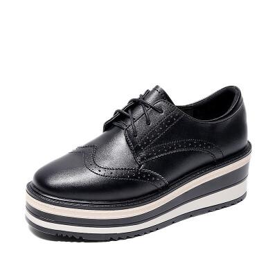 2019春季新款英伦风厚底松糕鞋高跟布洛克鞋平底皮鞋百搭女鞋 黑色  收藏加购,优先发货!