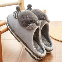 2019新款厚底棉拖鞋女冬季韩版3D猫新款卡通可爱月子鞋居家用加绒保暖