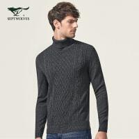 七匹狼厚毛衫 时尚商务男士中青年高领套头毛衣线衫冬季保暖翻领