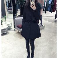 韩版大毛领中长款女收腰显瘦外套加厚黑色棉衣女冬季潮 黑色