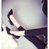 高跟工作鞋女黑色高中生礼仪细跟中跟3-5-7cm大码职场单鞋正装ol