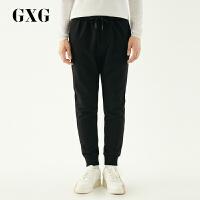 【GXG过年不打烊】GXG男装 秋季韩版潮流黑色针织长裤休闲裤男#174202080