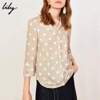 Lily2019夏新款女装复古圆点气质翻领宽松七分袖法式休闲衬衫8931