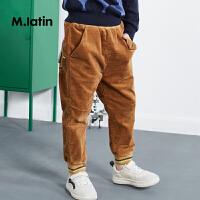 【2件2折后到手价:93.8元】马拉丁童装男童针织长裤冬装款条纹罗口脚口儿童宽松长裤