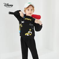 迪士尼宝宝幻想即兴曲男童针织不倒绒圆领套装秋季新款