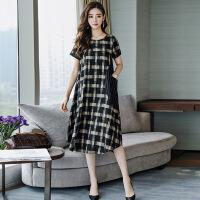 棉麻连衣裙女装2019夏季新款韩版大码宽松遮肚气质流行格子长裙子 黑白格
