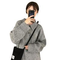 新年礼物秋季女装韩版中长款宽松厚实POLO领慵懒风针织衫港味复古毛衣上衣 均码