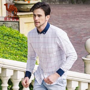 骆驼男装 春款新款撞色领修身衬衫 格子日常青年绅士衬衣 男