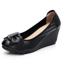 新品女鞋春秋女单鞋妈妈鞋舒适滑坡跟牛筋软底蝴蝶结工作鞋 白色 7厘米