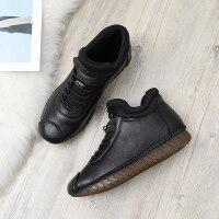 妈妈鞋软底舒适棉鞋中老年人女鞋加绒滑平底中年老人皮鞋