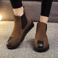 切尔西靴女秋冬新款绒面短筒平底英伦风复古时尚百搭及踝靴潮