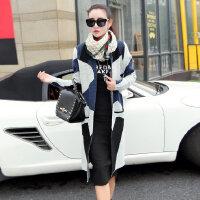 新品2016 暗蓝素雅毛线大衣韩版女士秋冬大码几何图案针织中长款毛衣