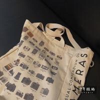 韩国ins帆布单肩女包文艺复古照相机手提包大容量简约百搭购物袋