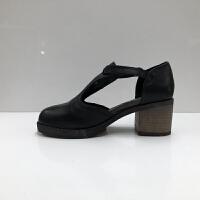 春季新款女鞋一字扣粗跟轻便简约时尚休闲圆头牛皮女凉鞋 黑色