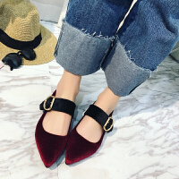 春季新款女鞋复古金丝绒一字扣尖头平底鞋拼色单鞋玛丽珍鞋潮