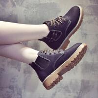 百搭加绒靴子女切尔西短靴女鞋子2018新款秋冬马丁靴女英伦风韩版