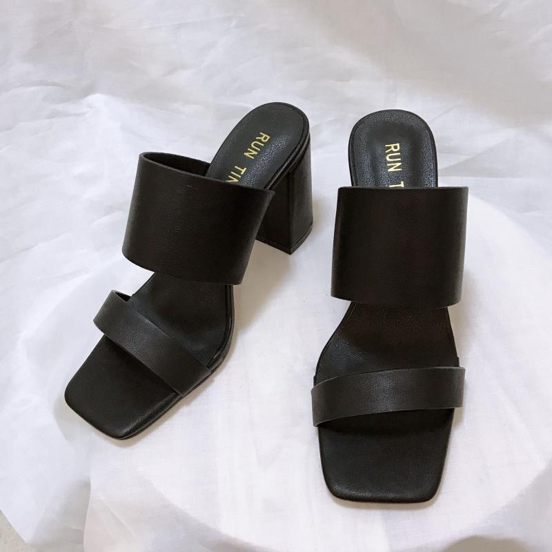 凉拖女夏新款时尚外穿粗跟拖鞋女高跟凉拖鞋 33码牛皮