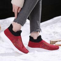 布鞋女2018冬季新品滑软底妈妈鞋中老年休闲运动加绒袜子鞋