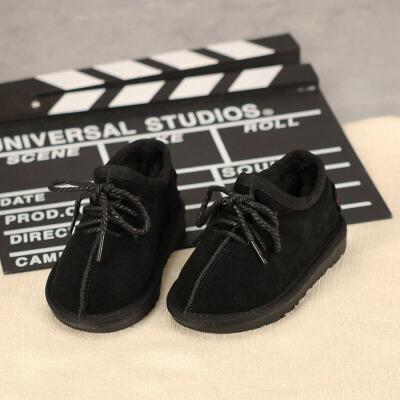 儿童皮鞋 男女童加绒加厚皮鞋2019冬季新款韩版加绒雪地鞋男女童中小童保暖棉鞋 男女童加绒加厚皮鞋