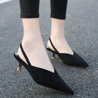 欧洲站2019新款5cm细跟高跟鞋网红抖音凉拖鞋外穿一字带显瘦女鞋