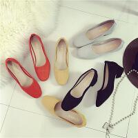 些久韩版中跟粗跟女鞋方头女士单鞋绒面复古高跟鞋浅口大小码瓢鞋潮