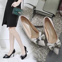 韩版小清新高跟鞋2018秋季新款猫跟鞋公主尖头细跟浅口蝴蝶结单鞋