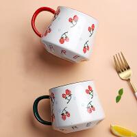 陶瓷杯子女生清新简约大容量北欧ins马克杯喝水燕麦带有勺子可爱