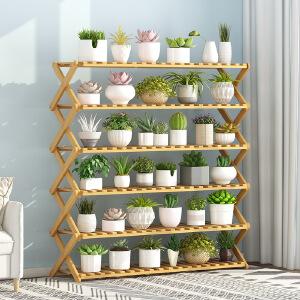 幽咸家居 阳台花架置物架家用花盆架实木装饰多肉绿萝花架子多层室内特价