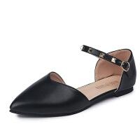 包头凉鞋女中跟2019新款 韩版时尚一字扣低跟中空尖头粗跟单鞋