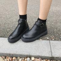 2019新品韩版加绒马丁靴女英伦风复古网红短靴学生百搭瘦瘦靴 黑色