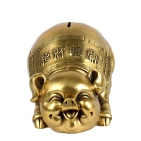 铜金猪存钱罐百年金猪工艺品家居饰品铜猪摆件生肖猪摆件