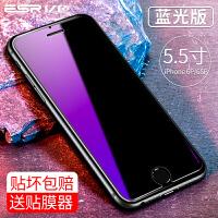 �O果6s�化膜iPhone6Plus手�C全屏覆�w玻璃抗�{光9D防摔ipone防指�yi6保�omo全