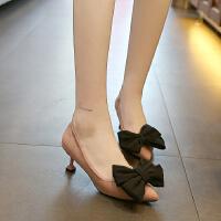 高跟鞋女中跟5公分细跟秋款猫跟浅口绒面蝴蝶结韩版工作单鞋四季
