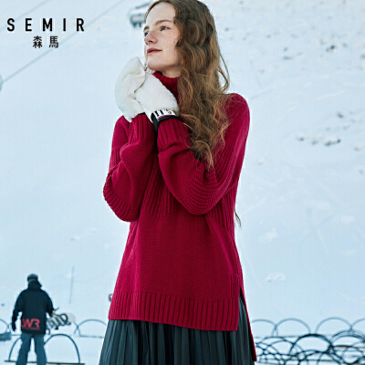 森马高领套头毛衫女冬季新款宽松时尚韩版潮流毛衣打底针织衫