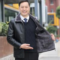 冬季中年男装皮衣加绒加厚休闲中老年人皮夹克40岁50爸爸冬装外套