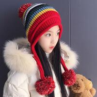 秋冬季韩版潮新款儿童套头护耳毛线帽子女孩大童加绒保暖针织帽