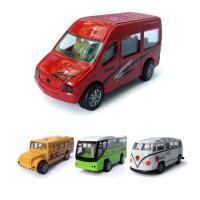 仿真金属回力小汽车套装组合迷你合金儿童玩具车模型男孩 4巴士 颜色随机