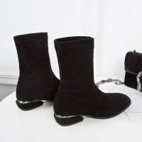黑色女短靴2018秋冬新款欧美方头粗跟马丁靴瘦瘦高跟弹力袜中筒靴 黑色