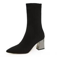 2019冬季新款欧美风尖头马丁靴女式弹力布中筒靴子女粗跟高跟袜靴