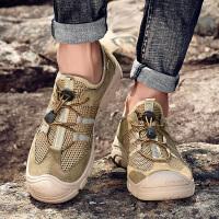 夏季户外登山鞋男透气真皮徒步鞋男士轻便网面休闲运动鞋