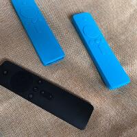 小米带防伪增强版盒子2/3代 蓝牙4/4A电视硅胶套盒子遥控器保护套抖音 正中间1个按键 蓝色2个装