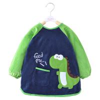 宝宝吃饭罩衣加厚水晶绒儿童围裙秋冬长袖防水男童围兜婴儿吃饭衣